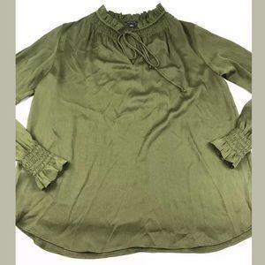 Ann Taylor Blouse Green Oversized Ruffle Tie Neck
